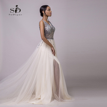 Evening Dresses Luxury Crystals V-neck Rhinestone Dresses Champagne Side Slit Long-party-dress Graduation Dress Beaded A-line