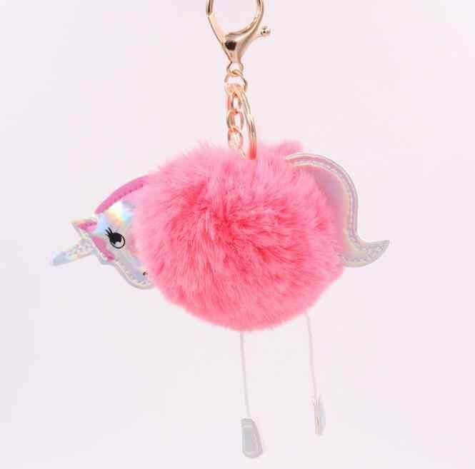 Hot Criativo Flamingo Pingente Chaveiro de Couro Chaveiro De Pelúcia Bola de Cabelo de Pele Confortável Para Mulheres Sacos
