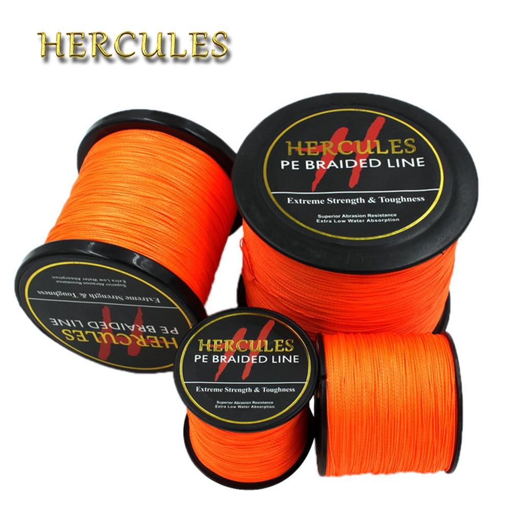 Hercules 4 Strands Fishing Line 100M 300M 500M 1000M 1500M 2000M PE Orange Braid Fishing Line Pesca Strong Carp Fishing Cord цена