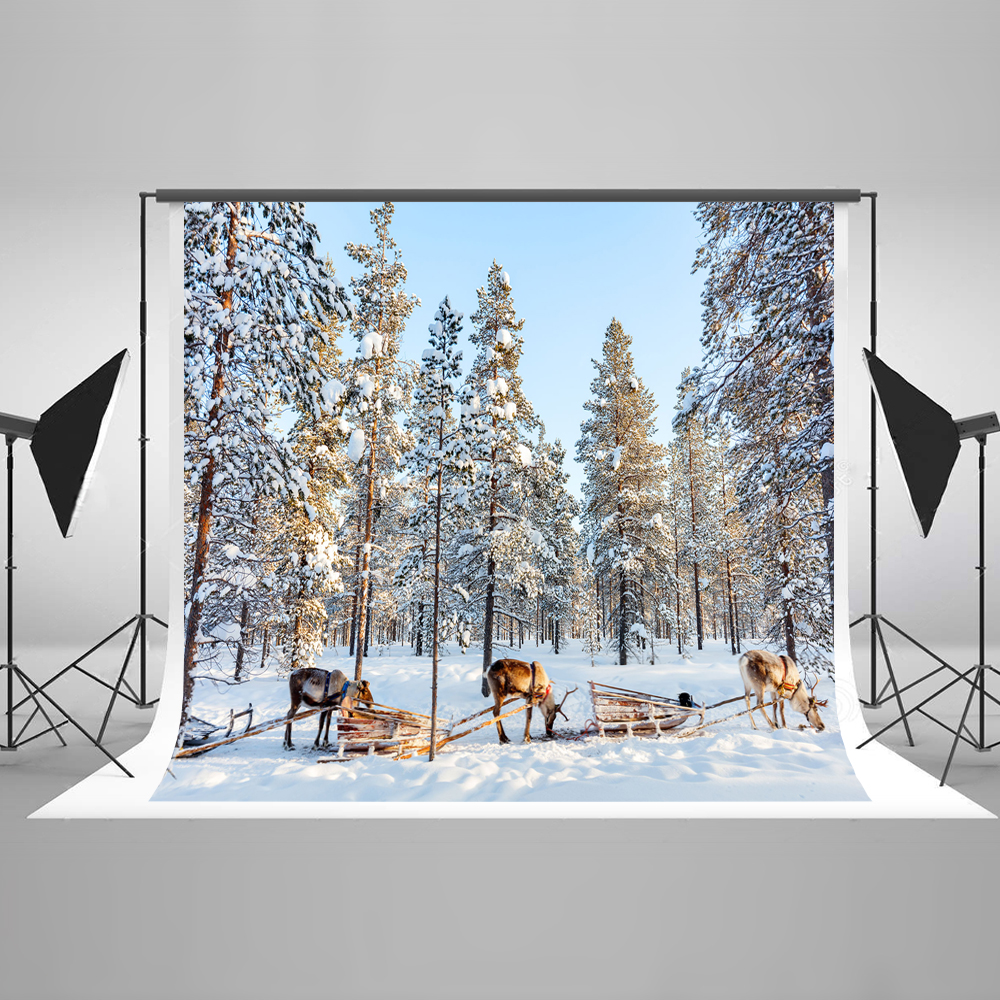 Kate Snow Winter Photo Background Photography Backdrop Elk Carriage Backgrounds For Photo Studio Microfiber Children Backdrop kate photo background scenery