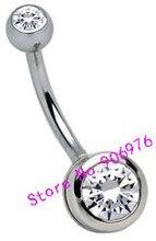 クリア宝石ダブル腹バー白い石316l外科鋼高品質送料無料100ピース/ロットスパーククリスタルボディピアス14グラム