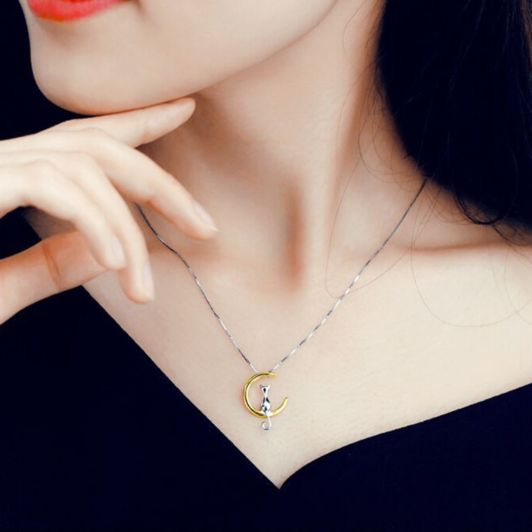Fashion Cat Moon Pendant Necklace Charm Silver Gold Color Link Chain Necklace For Pet Lucky Jewelry For Women Gift Shellhard