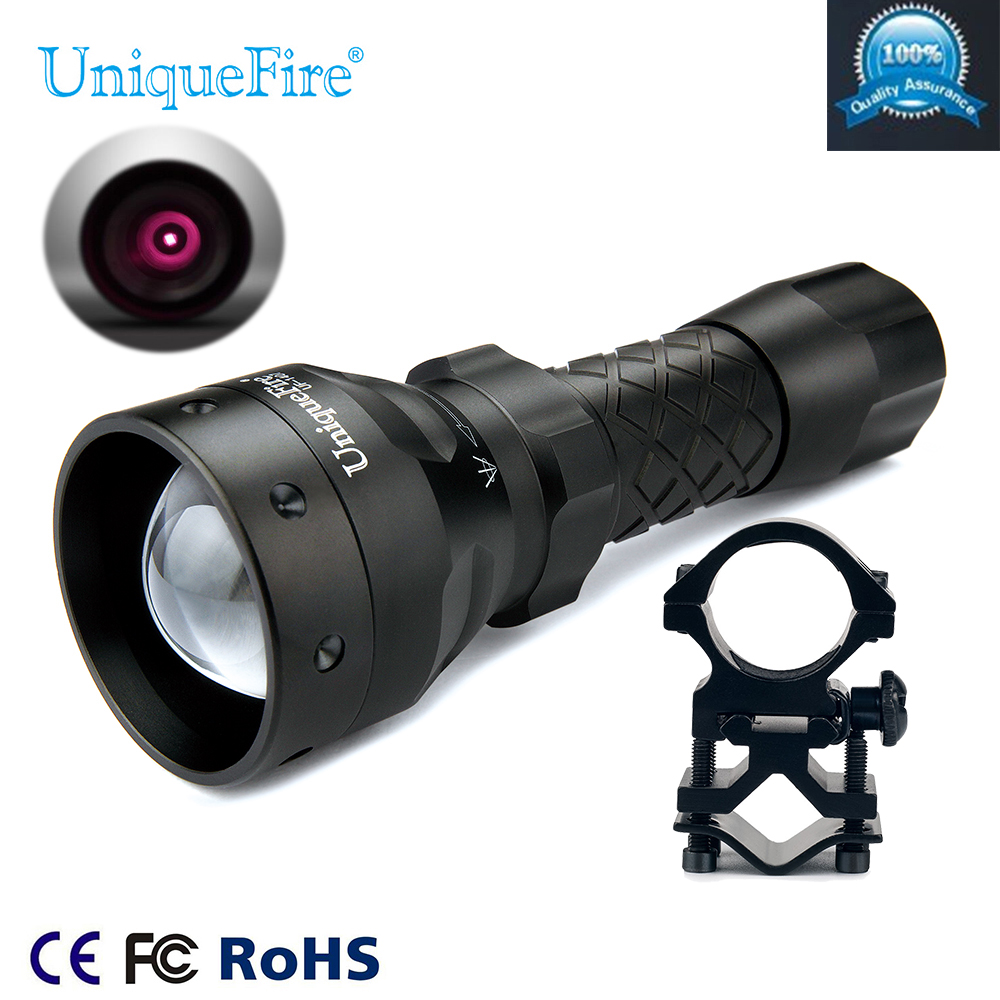 UniqueFire Infrared IR Flashlight UF-1407 IR 850NM 3 Modes Zoom Focus Lampe Torche+Scope Mount For Professional Hunting 2016 new uniquefire t20 4715as ir 850nm led flashlight upgraded 850nm design for precision hunting new lampe torche charger