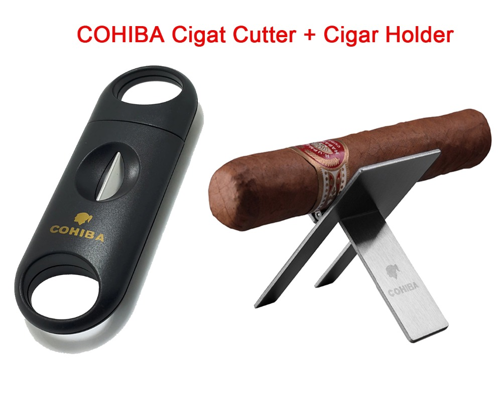 COHIBA Cigar Accessories Set Metal V Shaped Blade Cutter With Cigar Holder Stainless SteelCOHIBA Cigar Accessories Set Metal V Shaped Blade Cutter With Cigar Holder Stainless Steel