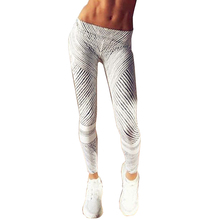 2017 New Black White Striped Printed Fitness Leggings Women Sportswear Workout Skinny Pants Sexy Push Up