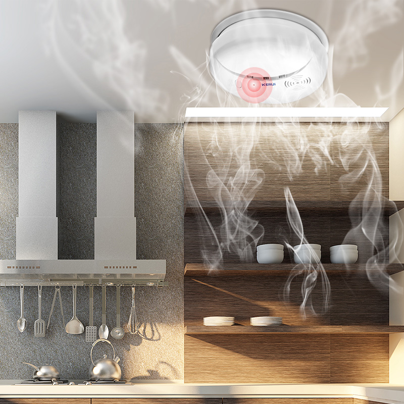 KERUI Wireless di Protezione Antincendio Rilevatore di Fumo Portatile Sensori di Allarme Per La Sicurezza Domestica Sistema di Allarme Nel Nostro Deposito