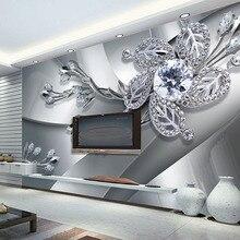Высокое качество на заказ настенная ткань настенная живопись современное творческое искусство 3D Алмазный цветочный узор Гостиная ТВ фон обои