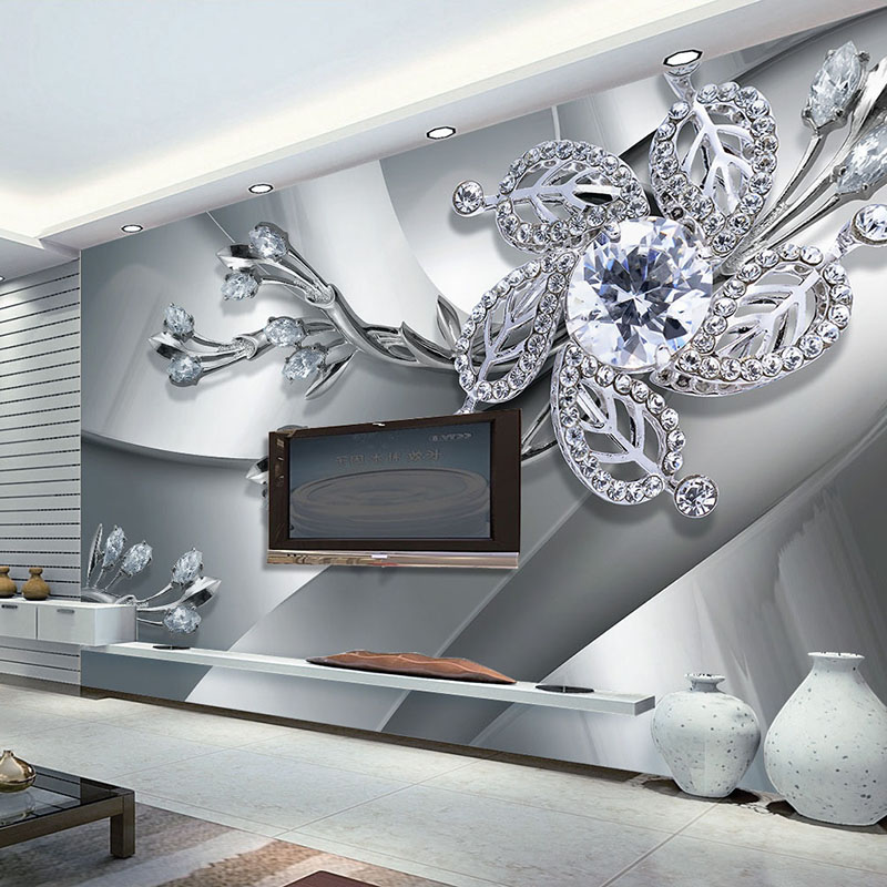 High Quality Custom Wall Cloth Wall Painting Modern Creative Art 3D Diamond Flower Pattern Living Room TV Background Wallpaper