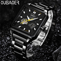 OUBAOER Automatic Mechanical Men Watch Top Brand Luxury Stainless Steel Mens Watches Military Sport Skeleton Male
