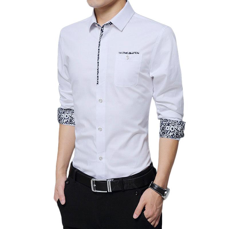 Mens Casual Shirts Long Sleeve Shirt Mens Dress Shirts Print White Shirt Male Cotton Chemise Homme