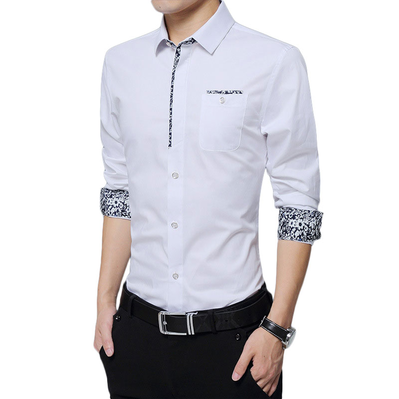 Mens Casual Shirts Long Sleeve Shirt Mens Dress Shirts Print White Shirt Male Cotton Chemise Homme