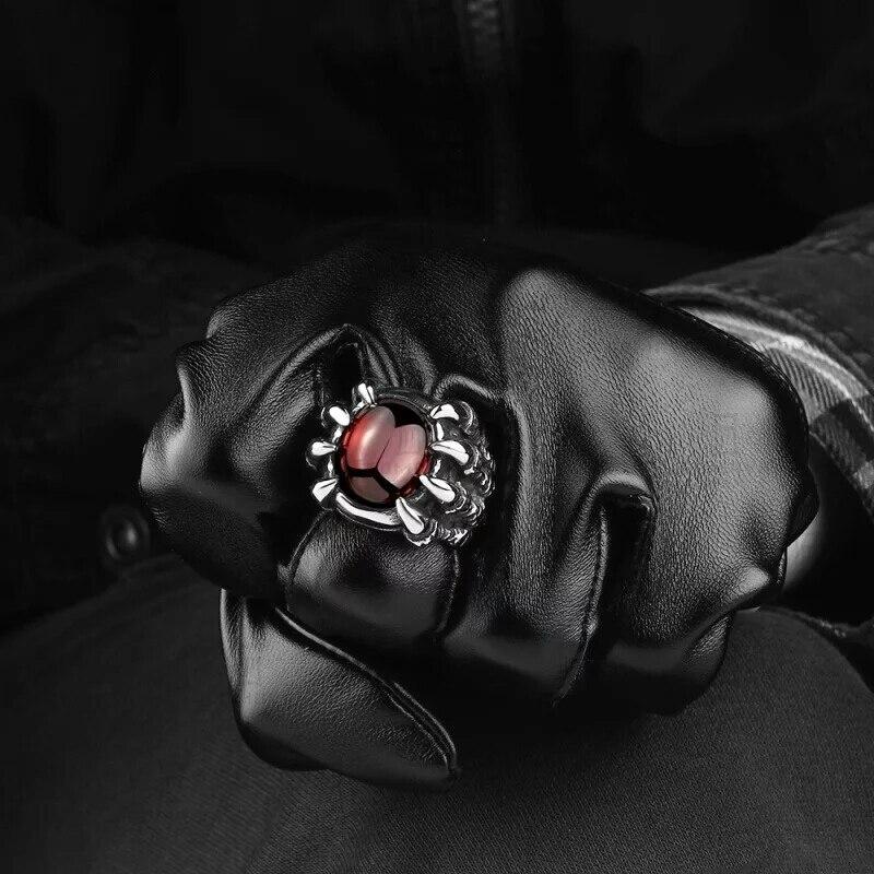 Anillo de acero inoxidable de moda WAWFROK anillos de calavera de hombre para mujeres anillo de plata Popular Punk Red Stone Jewelry garra dedo 3