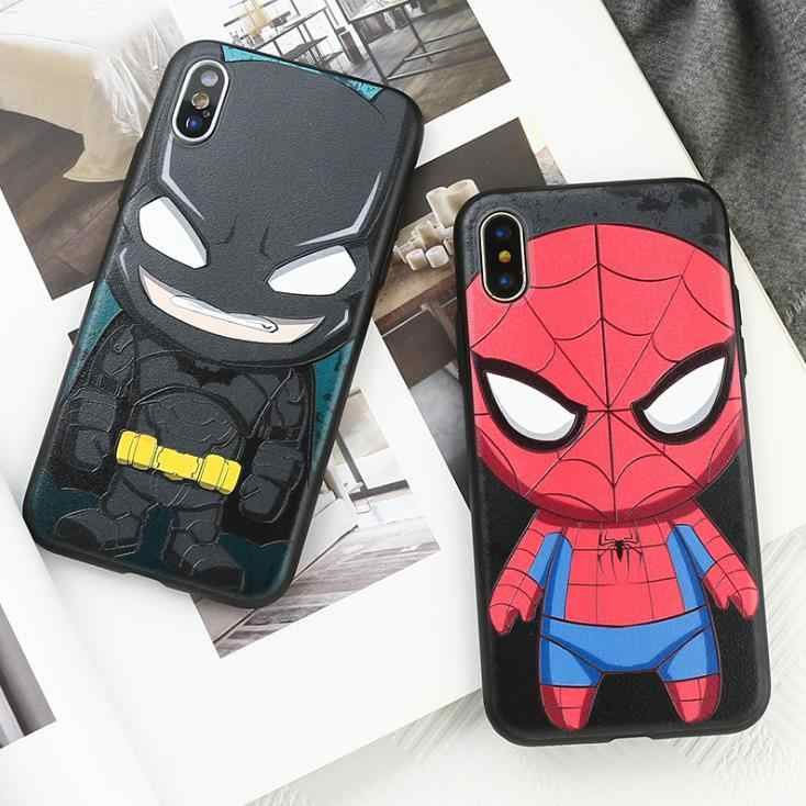 Marvel hero cute TPU back cover for iphone 5 5S 5G SE 6 6S 7 8 plus Rubber Gel Silicone iphone x XR Man boy Spiderman Phone Case