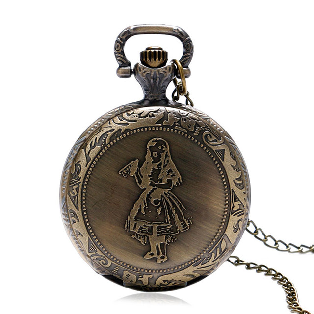 Antique Style Rabbit/Little Girl Bronze Vintage Alice in Wonderland Quartz Pocket Watch Women Girls Pendant with Necklace Chain