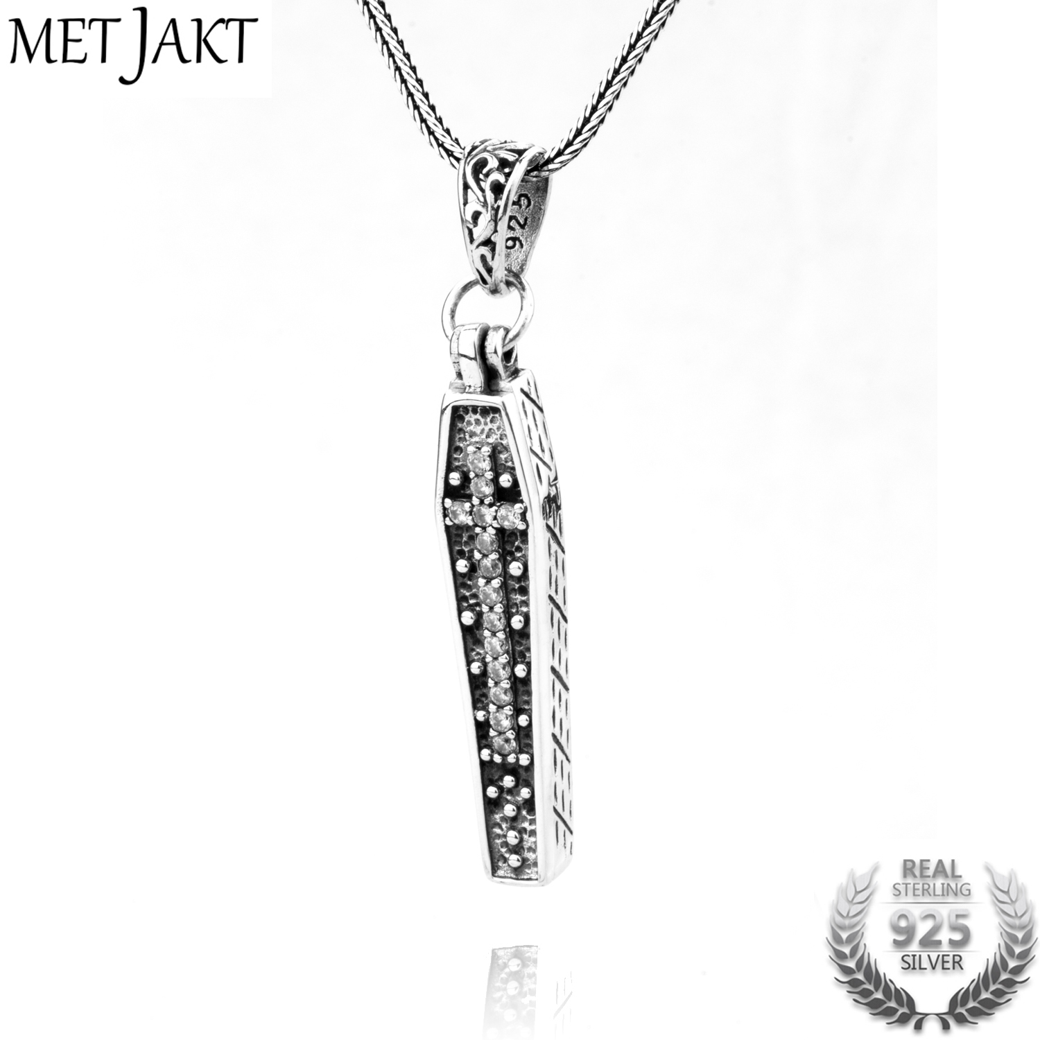 MetJakt 925 Sterling Silver Coffin Pendant with Skeleton Men's Gothic Punk Cross Pendant Necklace and Snake Chain metjakt punk buddhism 925 sterling silver peace pendant necklace and snake chain unisex exorcise evil spirits jewelry