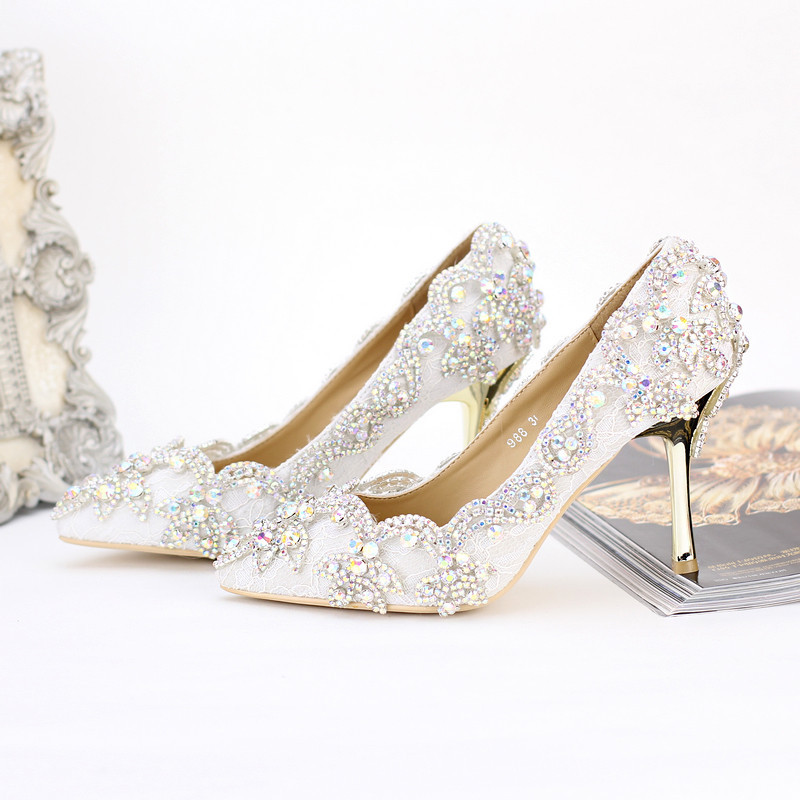 2016 New Beautiful Wedding Shoes Pointed Toe Crystal High