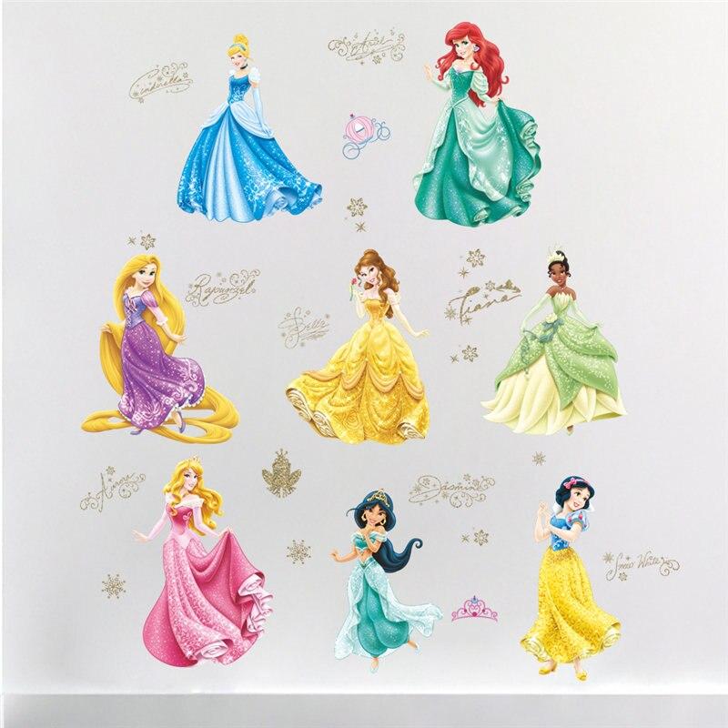Pegatinas de pared de princesa para niños decoración del hogar DIY Adesivo de Parede mural para habitación o baño DIY decoración de niñas