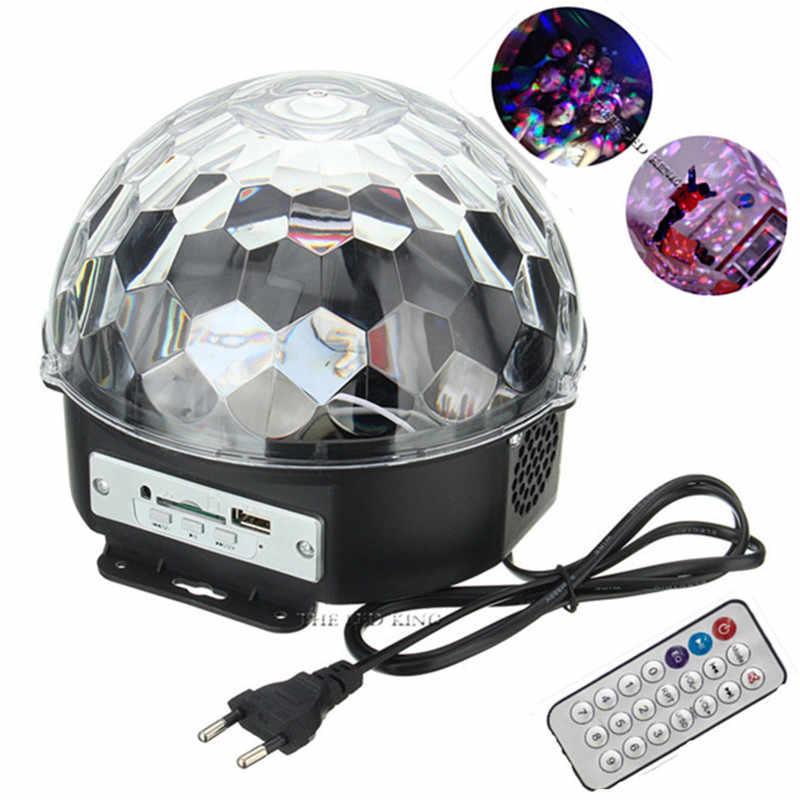 "18W האיחוד האירופי/ארה""ב Plug דיסקו כדור מסיבת אורות Bluetooth שלט רחוק מיני שלב אפקט אור קריסטל דקור מנורה עם MP3 מוסיקה נגן"