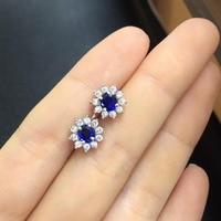 QI Xuan_Fashion Jewelry_Dark синий камень элегантный женщина шпилька Earrings_S925 насыщенный Серебряный Стад Earrings_Factory непосредственно продаж