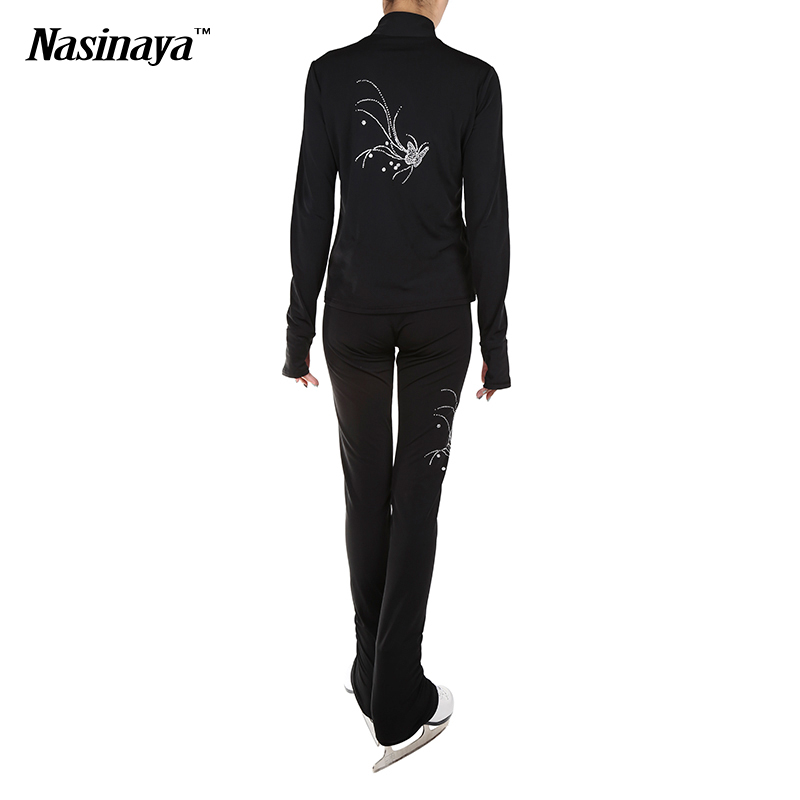 ФОТО Customized Clothes Ice Skating Figure Skating Suit Jacket And Pants Rolling Skater Warm Fleece Adult Child Girl White Rhinestone