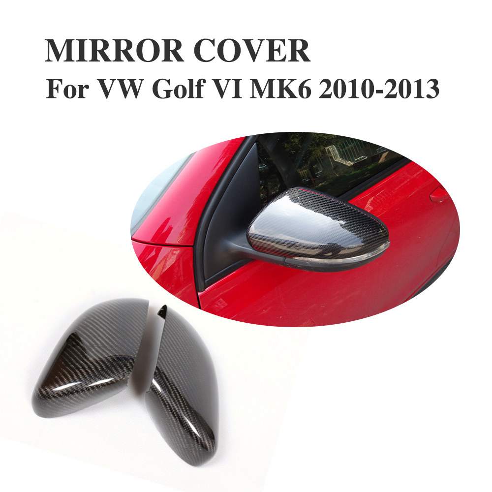Carbon Fiber Add on style Side Mirror Covers Fit For VW Golf VI MK6 GTI R20 2010-2012 Rearview Mirror Caps Car Styling for ford mustang 2008 2009 2010 2011 2012 2013 add on style carbon fiber rear view mirror cover black finish