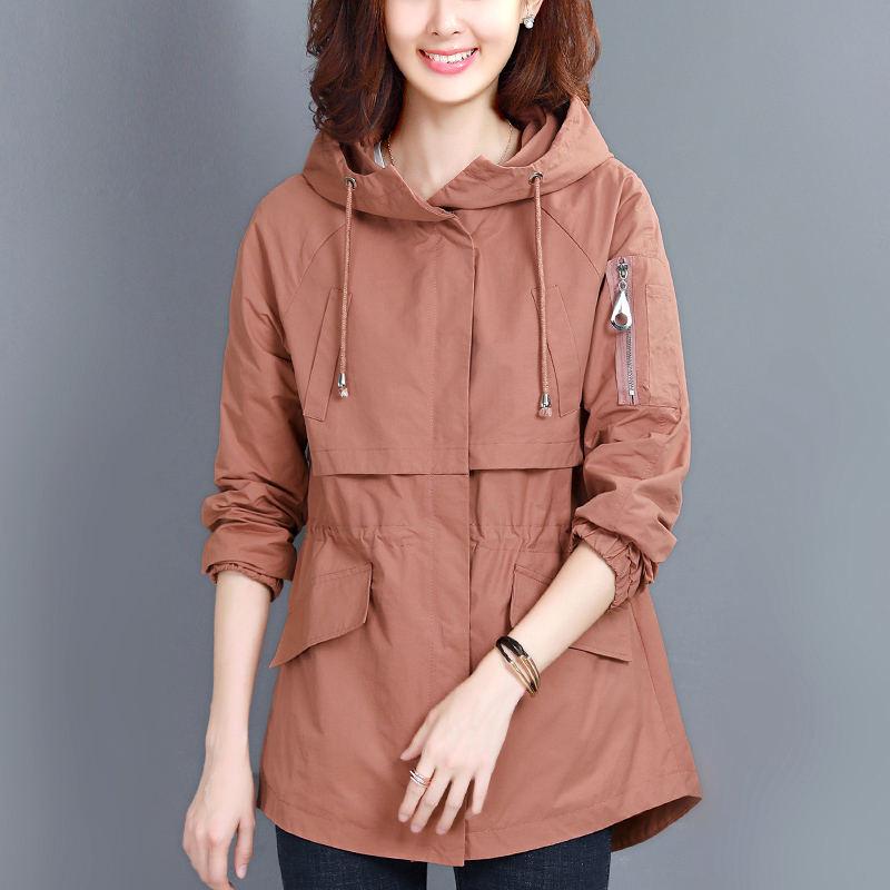 Spring Autumn Short   Trench   Coat Women Casual Long Sleeve Hooded Windbreaker Coats Streetwear Ladies Tops Slim Trenchcoats Q1000