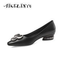 AIKELINYU New Womens Pumps Comfortable Shoes Spring Fashion Metal Decoration 2019 Cusp Toe Casual Big Code 34-43