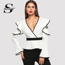 Sheinside White Ruffle Detail Wrap V-Neck Top Long Sleeve Blouse Shirt Women Clothes 2018 Autumn Elegant Workwear Womens Blouses
