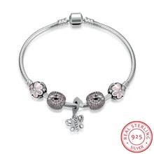 Hot Sale 100% 925 Sterling Silver Bracelet For Women With Butterfly Charms Beads Fashion Jewelry Original Christmas Gift H011