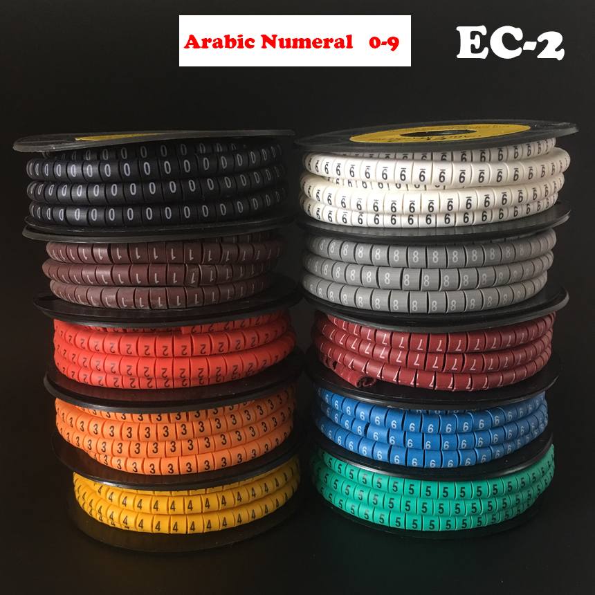10Roll/Lot EC-2 4mm2 0-9 Letter Print Pattern PVC Flexible Arabic Numeral Sleeve Concave Tube Label Wire Network Cable Marker letter print knot front top