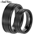 1 Pair Black Tungsten Carbide Wedding Band Woman and Man Anniversary Rings Set 8mm for Male 6mm for Male