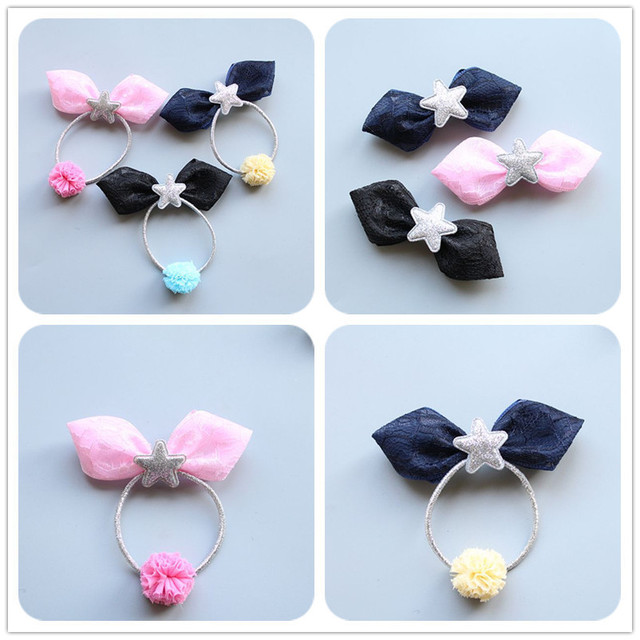 1 PCS Hand Lace Star Ball Hairpins Children Headdress Girls Hair Clips  Headwear Baby Hair Accessories Elastic Hair Bands Ropes 35bb6507fd5