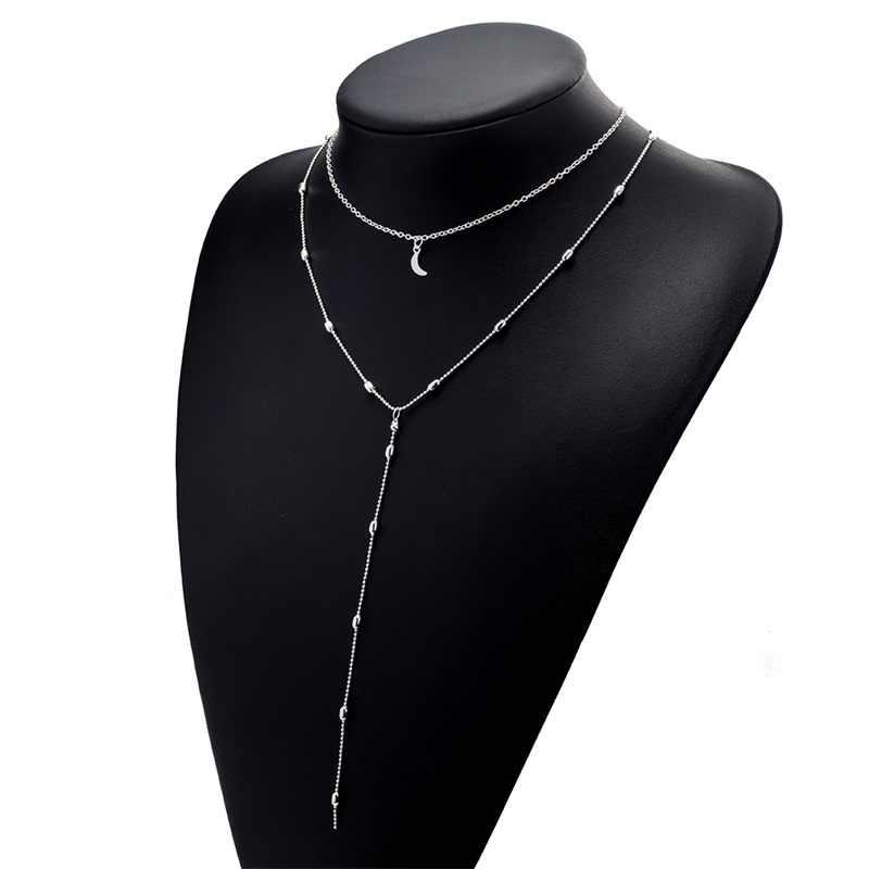 Iparam 2019 novo longo franjas estrela crescente gargantilhas pingente colar acessórios para mulheres jóias pingente colar