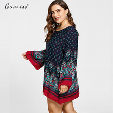 Plus Size Flare Sleeve Mini Bohemian Women Print Dress Retro Elegant Dresses Long Tops Casual Loose Beach Vestidos XL-5XL
