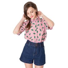 Cactus Print Single Breasted Women Blouse Peter Pan Collar Short Sleeve Shirts Casual Loose Female Tops For Wholesale