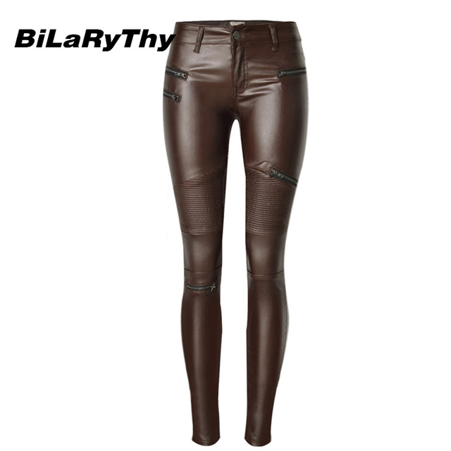 BiLaRyThy Fashion Women Low Waist Pencil Pants Female Skinny Coating PU Jeans Zipper Patchwork Denim Trousers Brown