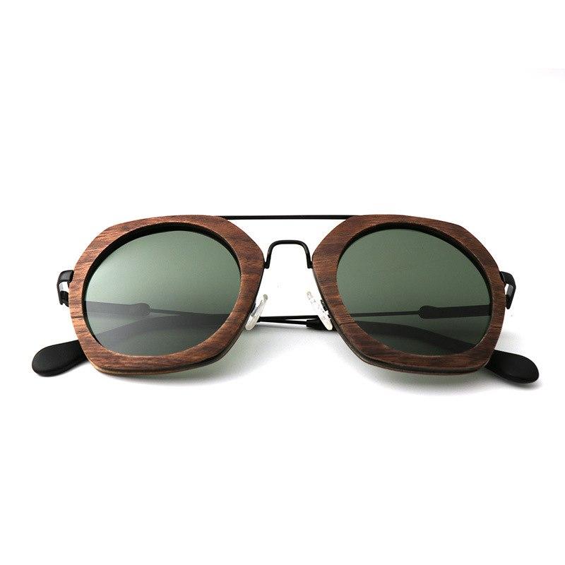 Hexagon Oversized Wood Sunglasses For Men and Women,Polaried Lens UV400 Brand Designer