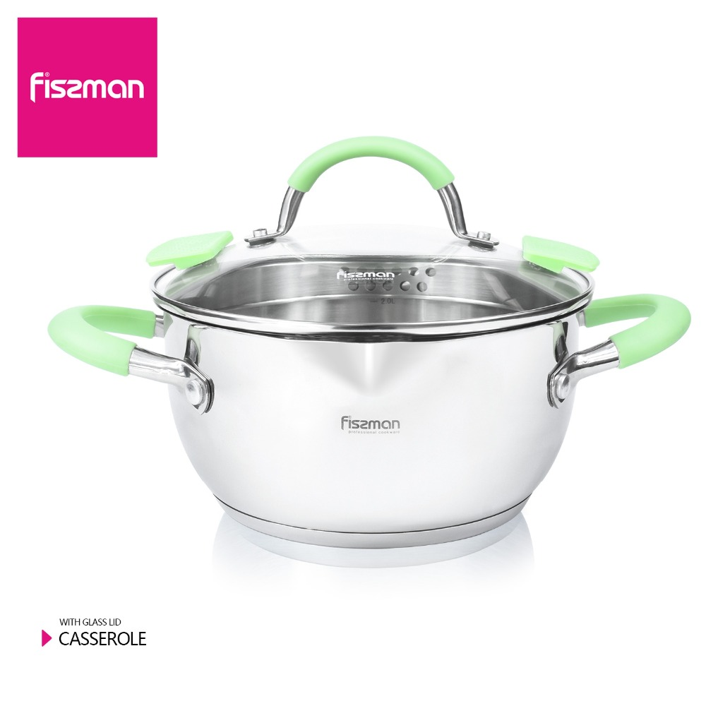 FISSMAN CHARLOTTE Series Casserole Cuisine Induction Stainless Steel 304 Cooking Casseroles inox with glass lid Triple