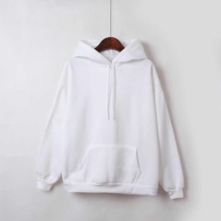 2019 Musim Gugur Baru Musim Dingin Hoodies Warna Solid Atasan Wanita Sweatshirt Lengan Panjang Beludru Tebal Mantel Harajuku untuk Wanita