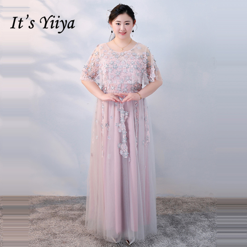 It's Yiiya Formal   Evening     Dresses   O-Neck Plus Size Embroidery Flower Lace Up Floor Length Fashion Designer Formal   Dress   DM004