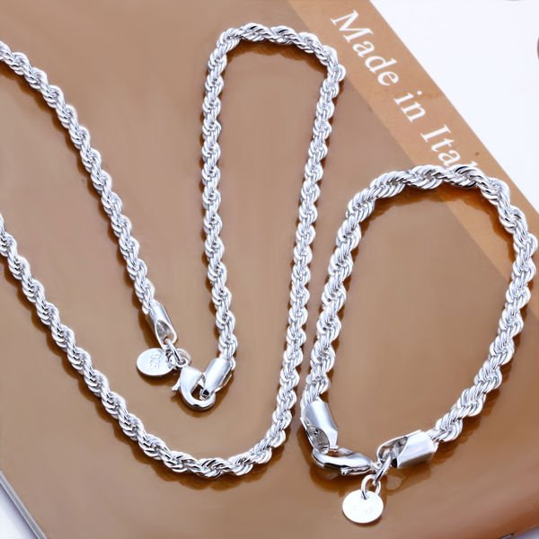 Detail Feedback Questions About Meekcat Free Shipping Whole Silver Plated 925 Jewelry Set Fashion Jewlery 2mm Twisted Line Two Piece On