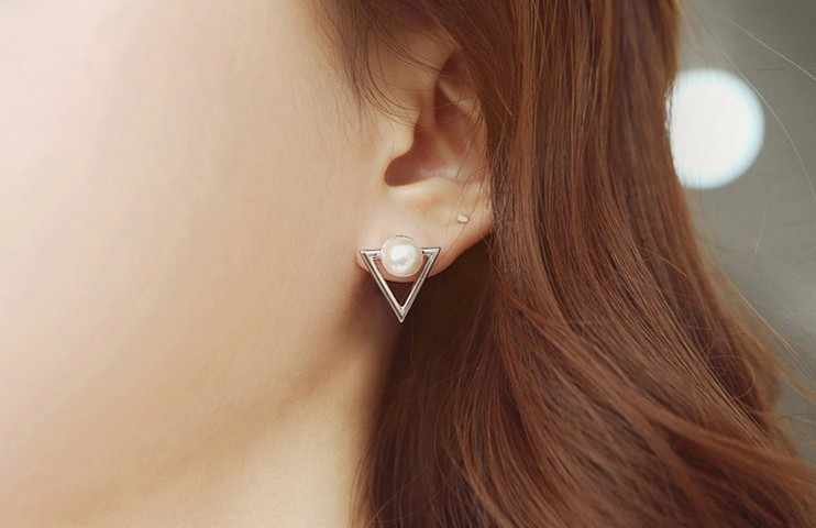 2018 Girl Simple Studs Earings Fashion Jewelry Triangle Pearl Earrings Brincos For Women Gold Perle Boucles D'oreilles Femmes
