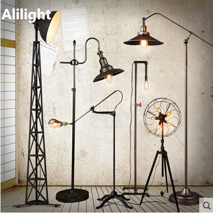 Retro Loft Country Industry Floor Lamps Vintage Metal Standing Light For Office Dining Living Room Bedroom
