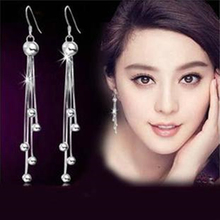 Silver female models long paragraph five beads earrings earrings retro fashion jewelry lovely wild super flash jewelry