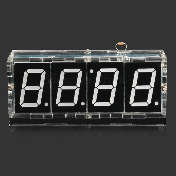 Free Shipping White 1 31 inch 4 Bits Digital DIY kit LED Electronic Clock Microcontroller LED