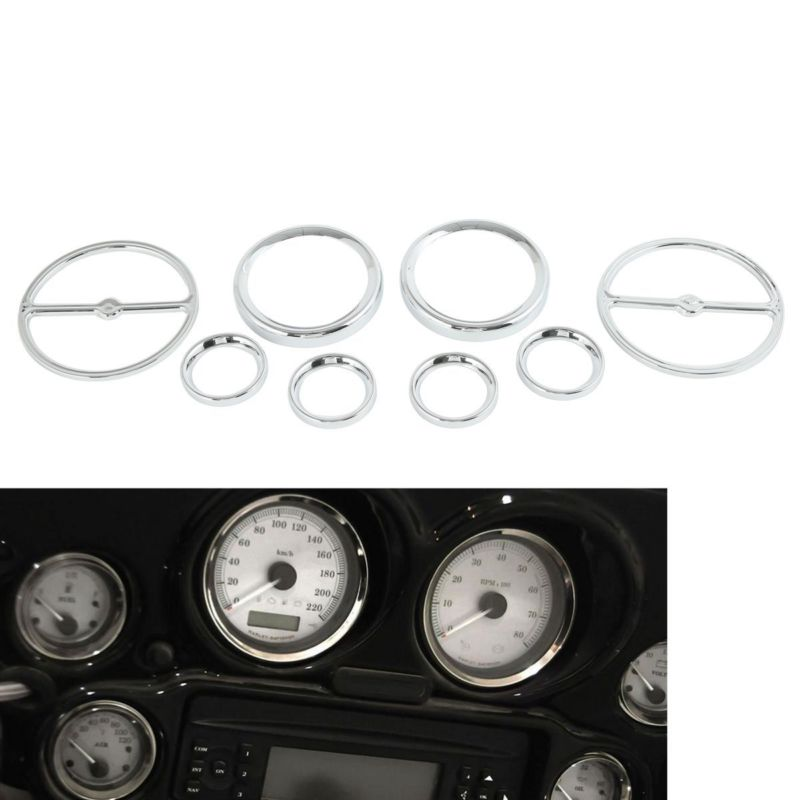 Chrome Radio Speedometer Gauges Bezels Horn Cover For Harley Tour Electra Road Glide Trike 1986-13 scooter parts 8pcs chrome speedometer gauges bezels and horn cover case for harley davidson touring free shipping