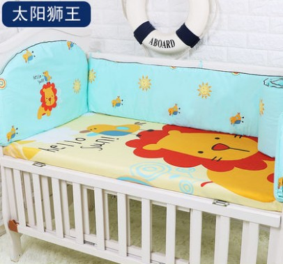 Promotion! 5PCS Pink Baby Bedding Set Newborn Infant Cartoon Crib Bedding,include:(bumpers+sheet)