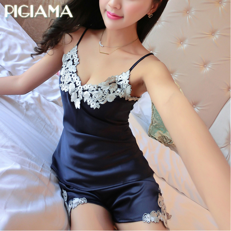 Fashion   Pajamas     Sets   Sexy Women Embroidered Pijama Flowers Straps And Shorts Lingerie Vestido Longo Sleepwear Pyjamas Women