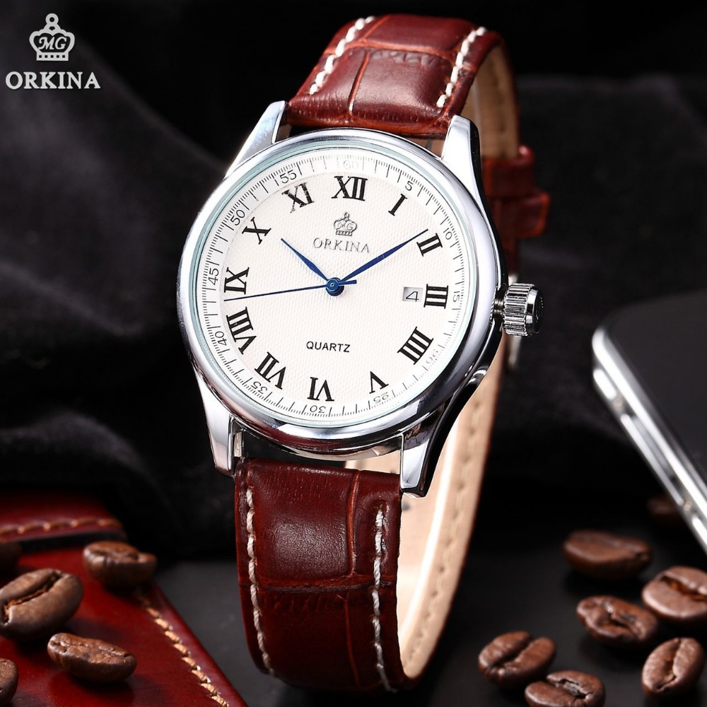 Us 27 99 Fashion Orkina Silver Stainless Steel Case White Dial Brown Leather Band Date Dress Quartz Wrist Men S Business Watch Ork156 In Quartz