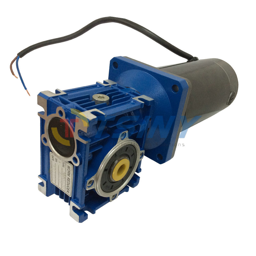 Right Angle 24V DC Worm Gear Reducer Motor, 45RPM Low Speed 100W Electric DC Motor Powerful 90 Degree